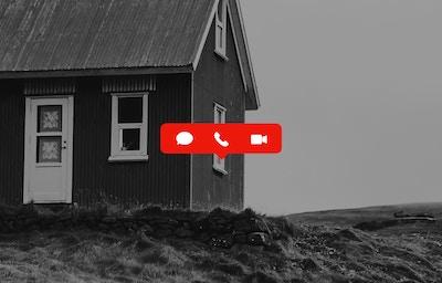 Bilde av hus med ikoner for videosamtaler